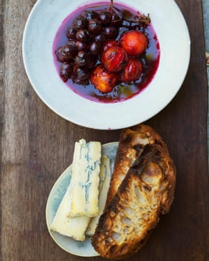 Winning combination: roast plums with grapes and blue cheese.