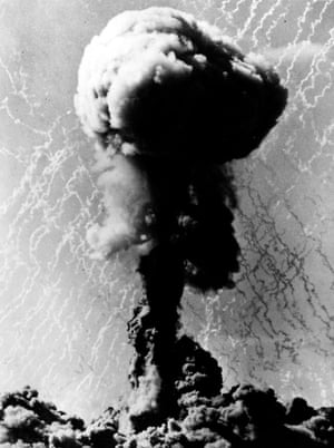 The mushroom cloud produced by the first British atomic test blast at Maralinga in South Australia