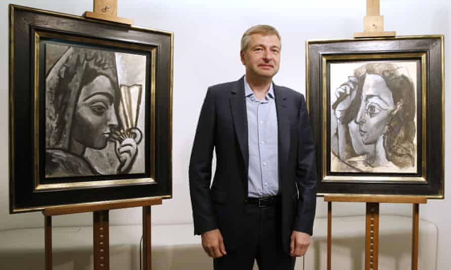 The Russian businessman Dmitry Rybolovlev with two paintings by Pablo Picasso.