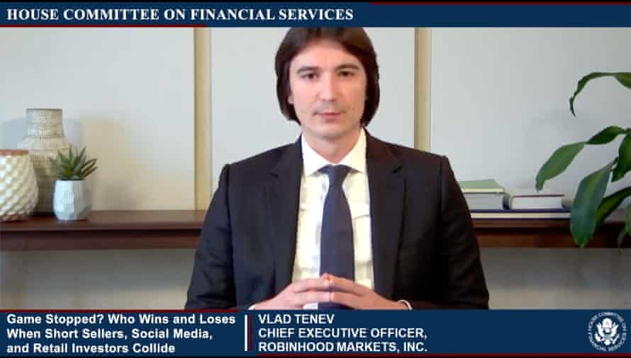 Vlad Tenev, CEO of Robinhood, testifies in this image from US House television.