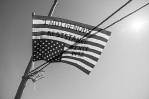 An upside-down US flag, denoting indigenous resistance, at a healing gathering at Fort Yates, September 2017.