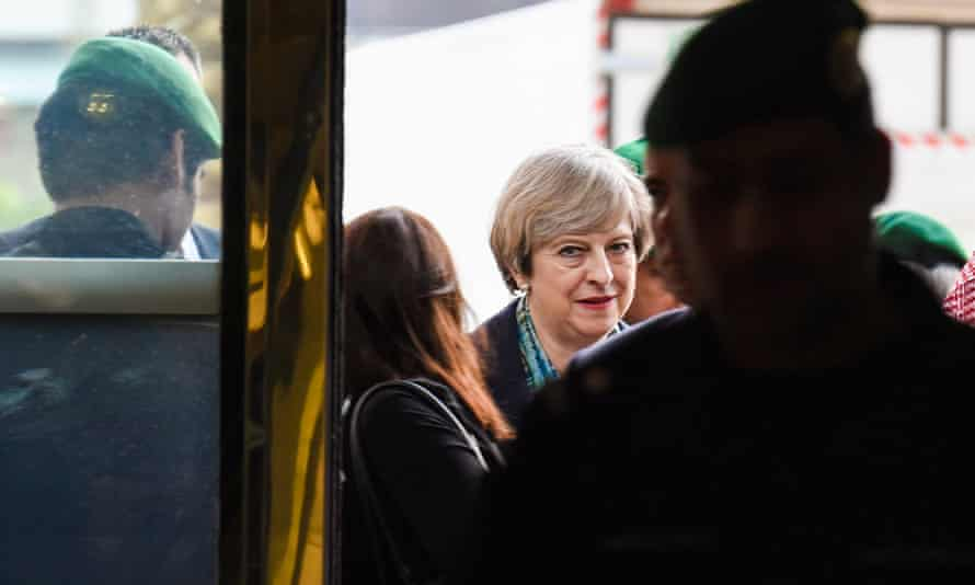 Theresa May arriving at the Saudi stock exchange as part of her visit to Saudi Arabia.