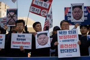 People at an anti-North Korea protest