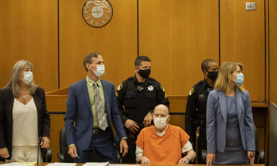 Joseph DeAngelo in his orange jumpsuit at the hearing. He pleaded guilty in June to 13 murders, among other crimes.
