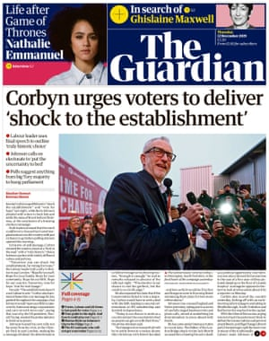 Guardian front page, Thursday 12 December 2019