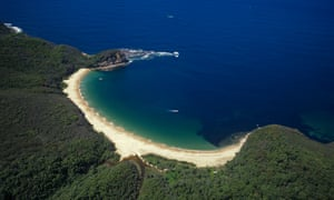 Aerial of Bouddi Point and Maitland Bay.
