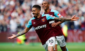 Manuel Lanzini celebrates his first-half strike which opened the scoring for West Ham