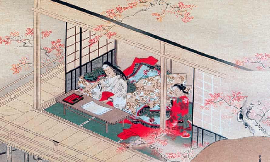 Razor-sharp observations … a woodcut of Murasaki Shikibu by Choshun Miyagawa (1602-1752).