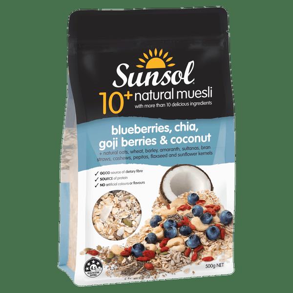 Sunsol Muesli - blueberries, chia, goji berries & coconut