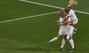 England players celebrate a goal during their 2019 Women's World Cup semi-final football match in July 2019.