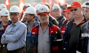 steels workers protest against joint venture between ThyssenkKrupp and Tata Steel