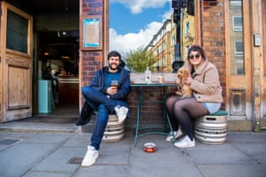 Dog owners with beer