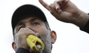 Nikol Pashinyan at a rally in Vanadzor on Saturday.