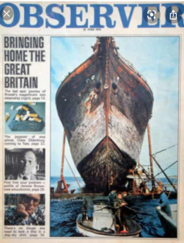 Observer magazine cover featuring SS Great Britain, 21 June 1970.