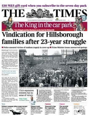 Times splash on Hillsborough in 2012
