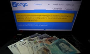 The homepage of Wonga's website with a message stating the company has stopped taking new loan applications, from August 2018.