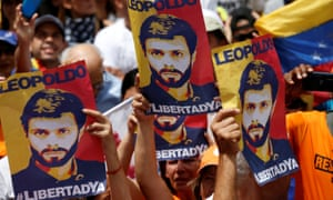 Rally in support of arrested Venezuelan opposition leader Leopoldo López.