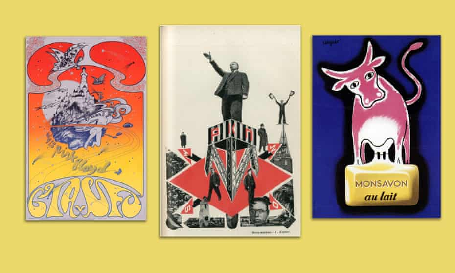Left to right: Osiris, CIA v UFO, by Hapshash & the Coloured Coat, 1967; Russian Communist Party, 1924; Monsavon soap, by Raymond Savignac, 1948-1950.