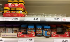 An empty shelf where Marmite should be in a Tesco store in Andover, Hampshire.