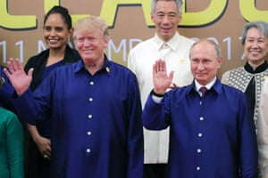 Vietnam 2017: US president Donald Trump takes part in his first APEC summit alongside Russian president Vladimir Putin – both of them dressed in traditional Vietnamese blue silk shirts