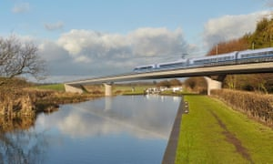 HS2 computer generated image of train crossing bridge and a canal