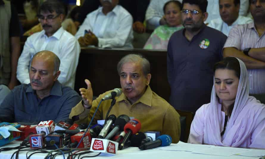 Shahbaz Sharif (C), the younger brother of ousted Pakistani Prime Minister Nawaz Sharif and the head of Pakistan Muslim League-Nawaz (PML-N)
