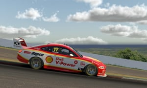 Scott McLaughlin 'driving' a Ford Mustang in the Supercars All Stars Eseries on 22 April.
