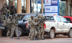 French special forces take position in the area around the Splendid hotel in Ouagadougou