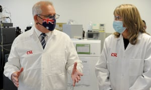 Prime minister Scott Morrison meets CSL staff working on the Covid vaccine as he tours the company's facility in Melbourne in March