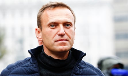 Alexei Navalny at a protest rally in Moscow last month.