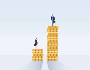 Businessman and businesswoman on piles of coins.