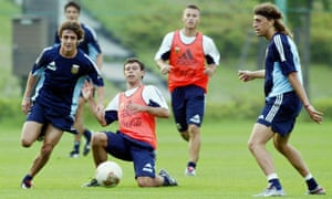 Pablo Aimar, left, on the ball at an Argentina training camp prior to the 2002 World Cup
