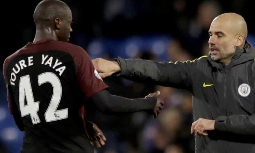 Yaya Touré and the Manchester City manager, Pep Guardiola