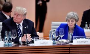 Donald Trump and Theresa May at the G20 meeting in Hamburg, Germany, in July.