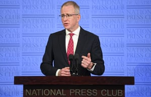 Australian communications minister Paul Fletcher delivers an address at the National Press Club in Canberra 23 September 2020.