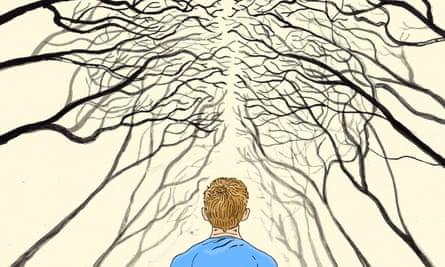 man stood before fractals - illustration