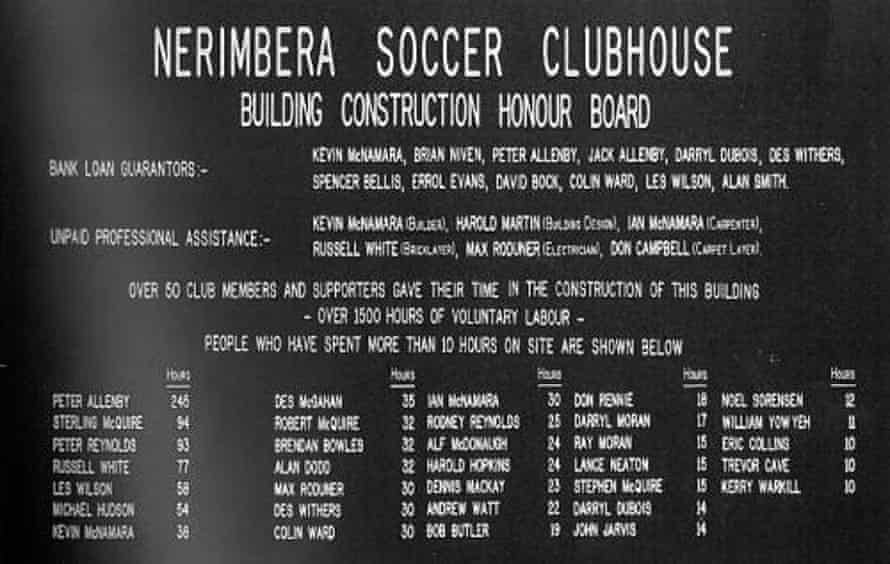Nerimbera Soccer Club House honour board. Scanned photo from a book by the football club.