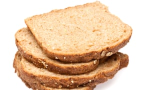 Wholemeal bread has about 2g of fibre per slice