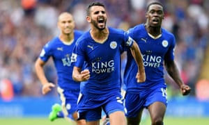 Leicester's Riyad Mahrez celebrates scoring his team's equaliser during the Premier League match against Tottenham Hotspur at the King Power Stadium.