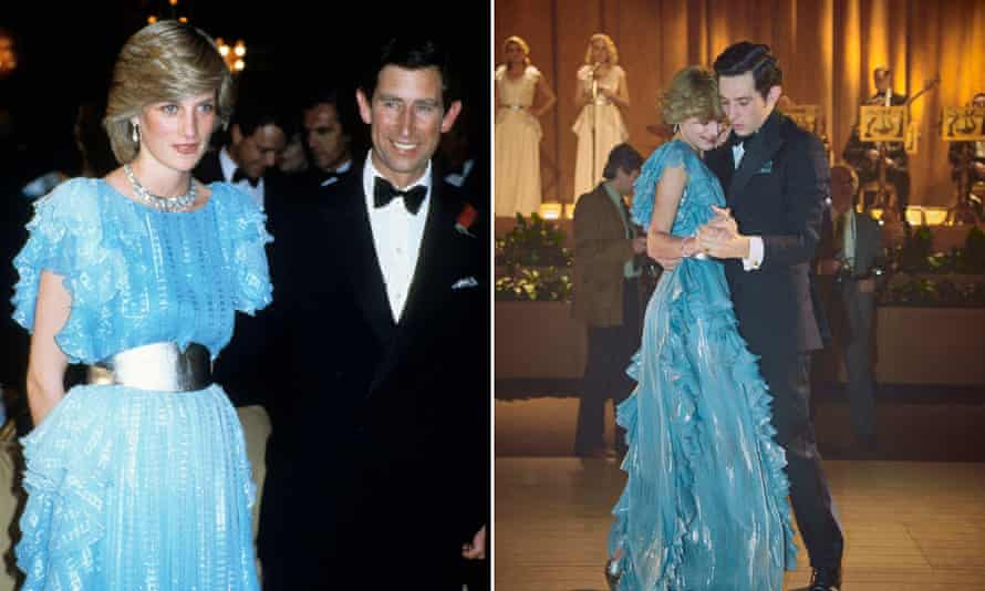 Composite image showing Princess Diana and Prince Charles (left) and The Crown S4 - Princess Diana and Prince Charles