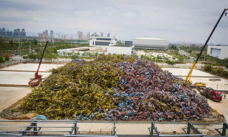Thousands of share bikes laid to rest in the south-eastern Chinese city of Xiamen.