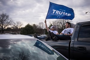 Anthony Stover, 28, left, and his brother Joey Stover, 25, wait for Trump to speak in West Allis, Wisconsin on 3 April 2016.