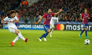Tottenham's Son Heung-min scores the team's only goal in the club's defeat of CSKA Moscow on Tuesday night.