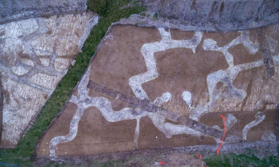 Trenches at Larkhill are clearly visible through the chalk backfill.