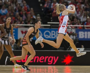 Helen Housby of the Swifts during the Round 6 Super Netball match between the NSW Swifts and the Collingwood Magpies at Qudos Bank Arena in Sydney.