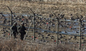 South Korean soldiers on patrol near the demilitarized zone in Paju.