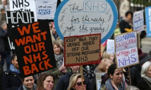 Protesters march through central London to demand more funding for the NHS.