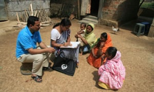 Census officials collect details from village women in northern India in order to boost tax collections.