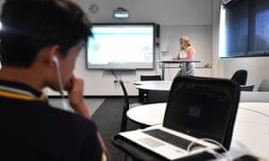 Adelaide teacher Cindy Bunder demonstrates a virtual classroom