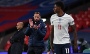 Gareth Southgate applauds on the touchline during England's 2-1 win against Belgium